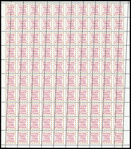 2521, Large Misperforated ERROR Sheet of 100 Stamps