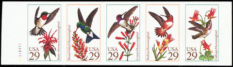 2646aPi, MNH XF Imperforate Pane of Five Bird Stamps Proof