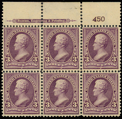 268 Top Plate Block of Six VF OG NH/LH Cat $725.00
