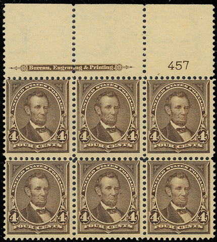 269 Wide Top Plate Block of Six Mint OG NH/LH Cat $775.00