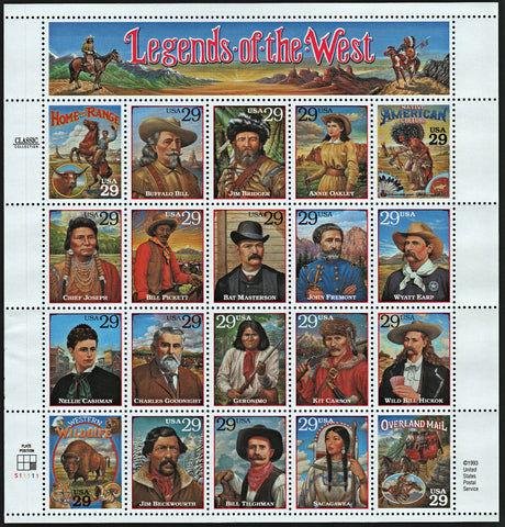 1994 29 Cent Legends of the West Sheet of 20 Stamps Scott 2869 By USPS