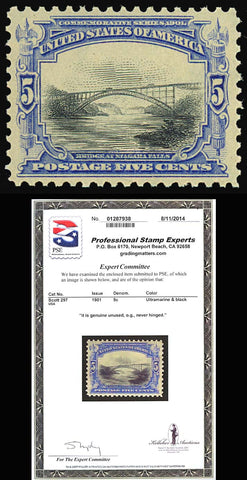 297, Mint SUPERB NH 5¢ Bridge With PSE Certificate - GEM QUALITY