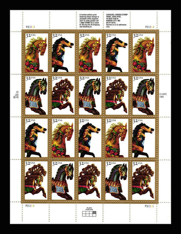 2976-79, 32¢ Carousel Horses Full Pane of 20 Stamps By USPS