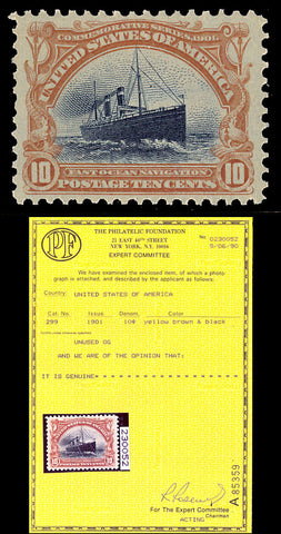 299 Mint 10¢ Steamship - VF-XF OG NH With PFC Certificate