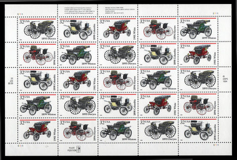 3019-23, 32¢ Antique Automobiles Pane of 20 Stamps By USPS