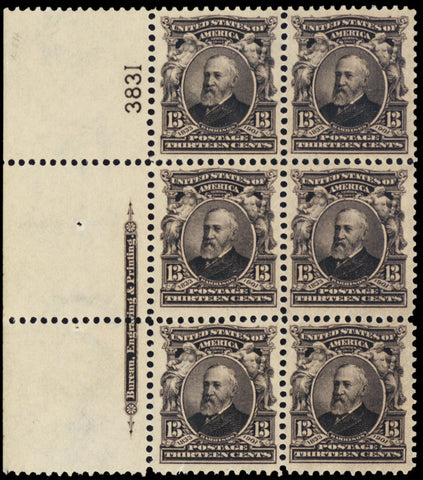 308, Mint VF-XF VLH 13¢ Plate Block of Six Stamps Cat $675.00