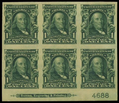 314, Mint Superb NH 1¢ Plate Block of Six Stamps