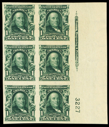 314, Mint XF NH Plate Block of Six Stamps