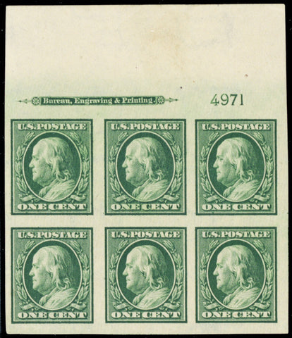 343, Mint Superb NH Top Plate Block Of Six Stamps