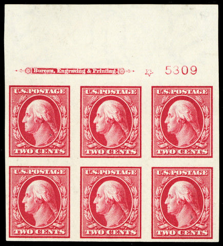 344, Mint 2¢ XF NH Top Plate Block of Six Stamps