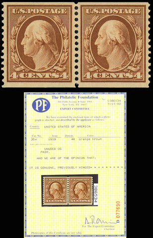 354, 4¢ Coil Pair VF OG LH With Philatelic Foundation Certificate