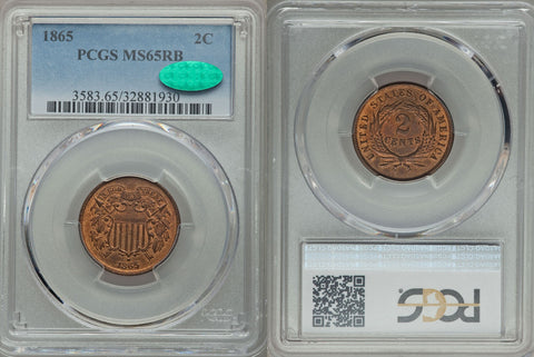 1865 Two Cent PCGS/CAC MS-65 RB Pretty Coin!