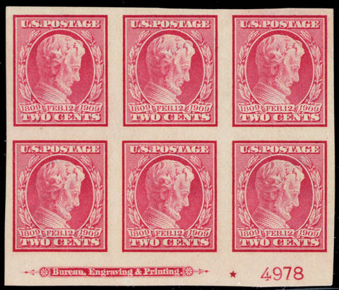368, Mint VF NH 2¢ Plate Block Of Six Stamps