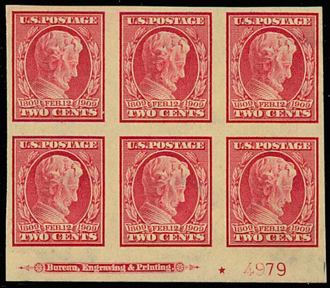 368, Mint XF NH 2c Imperf - FRESH PLATE BLOCK OF SIX