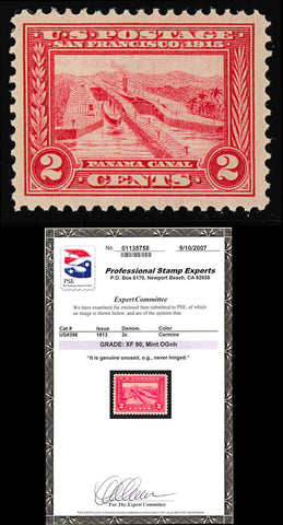 398 Mint XF MINT NH 2¢ Panama Pacific Stamp - PSE GRADED 90