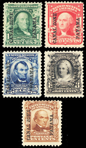 Canal Zone #4-8, Mint OG - Five Stamps Cat $460.00
