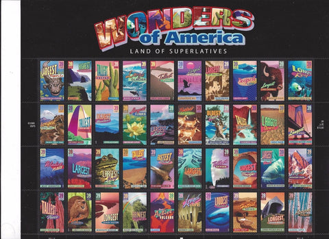 2006 Wonders of America Sheet Of Forty 39 Cent Stamps Scott 4033-72 By USPS