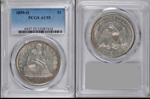 1859-O New Orleans Seated Dollar PCGS AU55 Almost Uncirculated