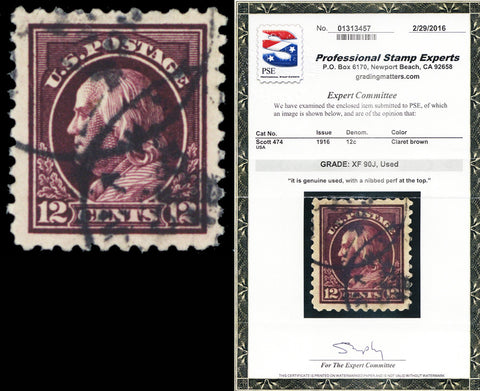 474, Used 12¢ Franklin XF JUMBO PSE Graded 90J SMQ $100.00