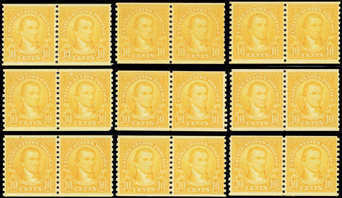 603, Mint NH VF 10¢ Wholesale Lot of Coil Stamps Cat $502.00