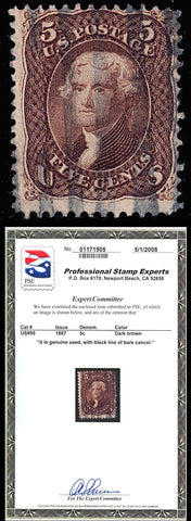 095 Used 5¢ Dark Brown - Sound With PSE Certificate Cat $900.00