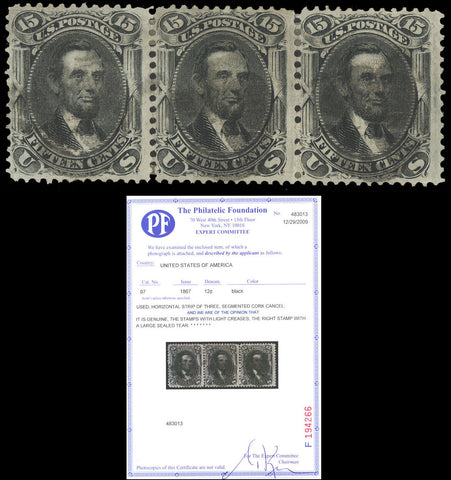 097 Used Strip of 3 - RARE MULTIPLE With PFC Cat $780.00++