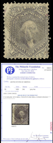 099 Used RARE 24¢ Grey Liliac With PFC Cat $1,600.00