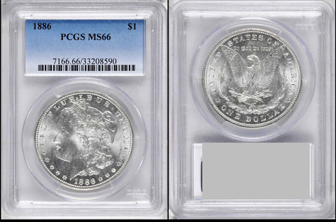 1886 Morgan Silver Dollar - PCGS Graded MS-66 BRILLIANT GEM!