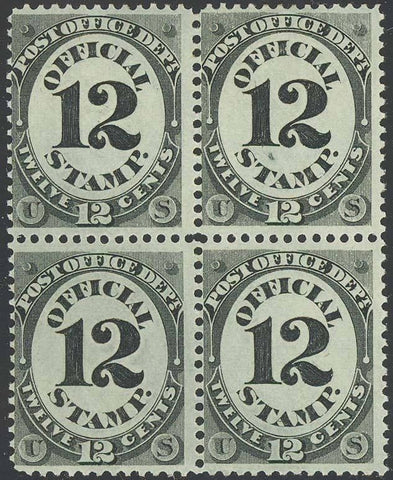 O52, Mint 12¢ F/VF OFFICIAL BLOCK NH/LH Cat $790.00