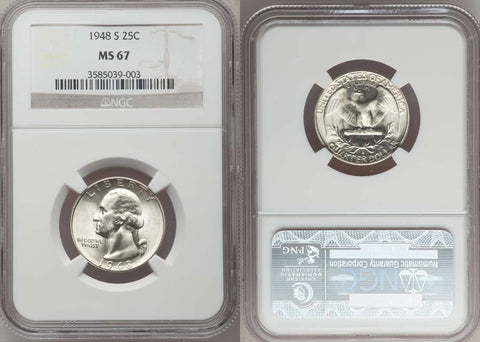 1948-S WASHINGTON QUARTER GRADED NGC MS67 - NICE WHITE COIN!