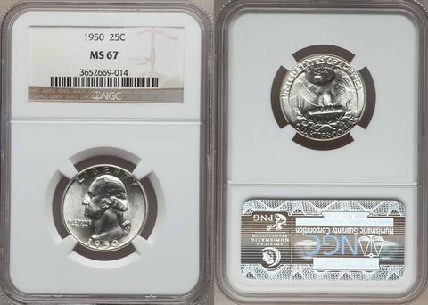 1950 WASHINGTON QUARTER NGC GRADED MS67 - VERY LUSTROUS WHITE COIN