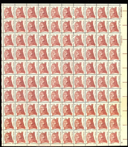 1855 Var, COMPLETE SHEET OF 100 - DOUBLE PAPER ERROR WITH BLUE TAPE SLICE