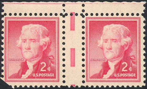 1033, EXTREMELY RARE GUTTER PAIR MAJOR ERROR MINT NH