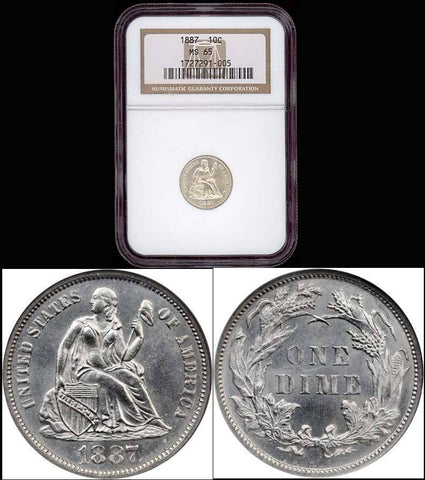 1887 Liberty Seated Dime - NGC GRADED MS65 - Brilliant Luster