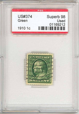 374, Used 1¢ SUPERB GEM QUALITY PSE GRADED 98