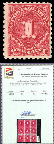 J52 Mint 1¢ Postage Due - F-VF OG NH With PSE Cert Cat $220.00