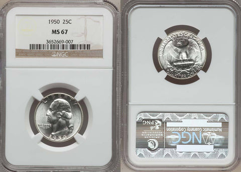 1950 WASHINGTON QUARTER NGC GRADED MS67 - FULL LUSTROUS WHITE COIN