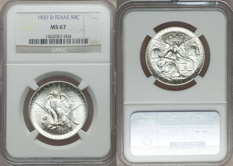 1937-D 50c TEXAS COMMEMORATIVE COIN - NGC GRADED MS67 - GEM QUALITY COIN!