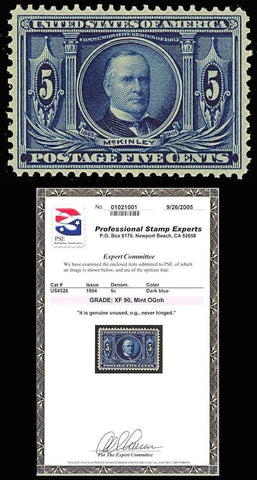 326, 5c Mint NH - XF CENTERING With PSE GRADED 90 Certificate - GORGEOUS STAMP!