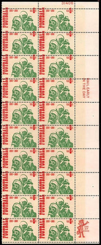 1382 Var, FOOTBALL STAMP - RED COLOR SHIFTED UP ERROR BLOCK OF 20 STAMPS