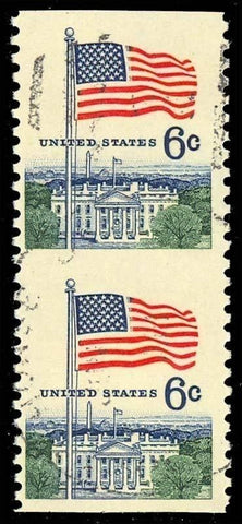1338u, EXTREMELY RARE Used 6c Flag vertical imperforate between error pair
