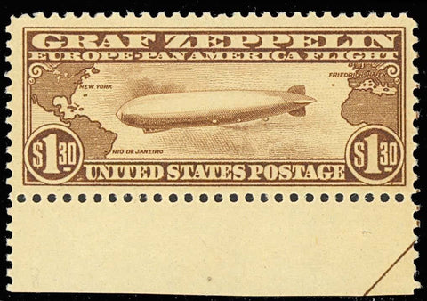 C14, Mint NH $1.30 ZEPPELIN - XF GEM WITH LARGE JUMBO MARGINS - STUNNING STAMP!