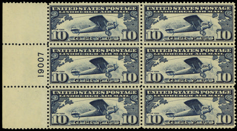 C10, Mint VF NH 10¢ Plate Block of Six Stamps