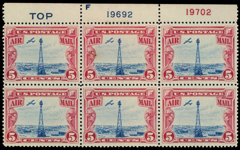 C11, Mint NH VF 5¢ Blue Top Plate Block Of Six Stamps
