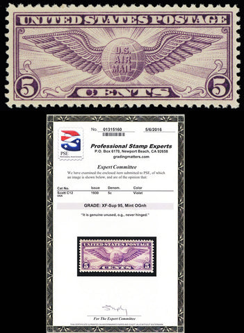 C12, Mint NH XF-SUP 5¢ Airmail Comes With Graded 95 PSE Certificate