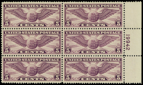 C12, Mint VF-XF NH 5¢ Plate Block of Six Stamps