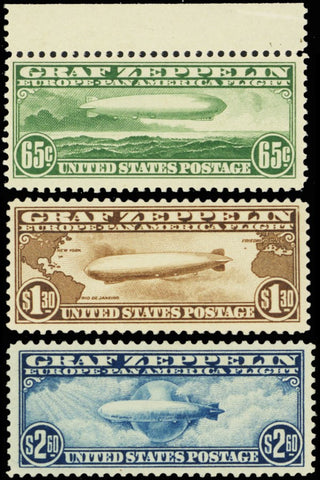 C13-15, Mint VF NH Set of Three Zeppelin Stamps Very Fresh!