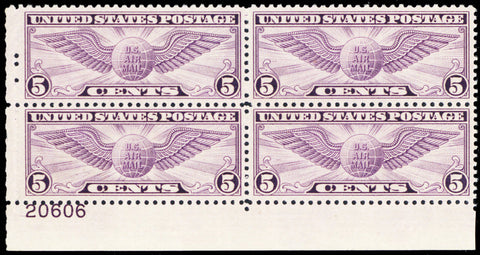C16, Mint Superb NH 5¢ Plate Block Of Four Stamps