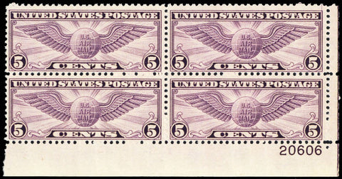 C16, Mint VF NH Plate Block of Four Stamps