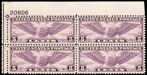 C16, Mint VF NH 5¢ Plate Block of Four Stamps